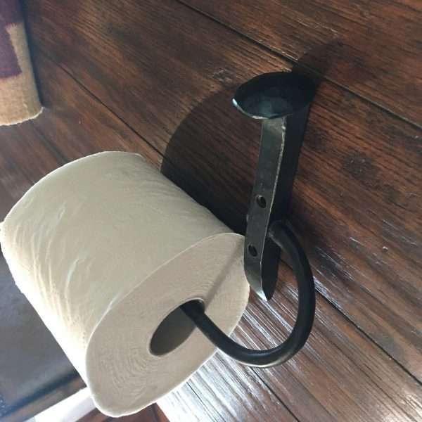 railroad spike toilet paper holder