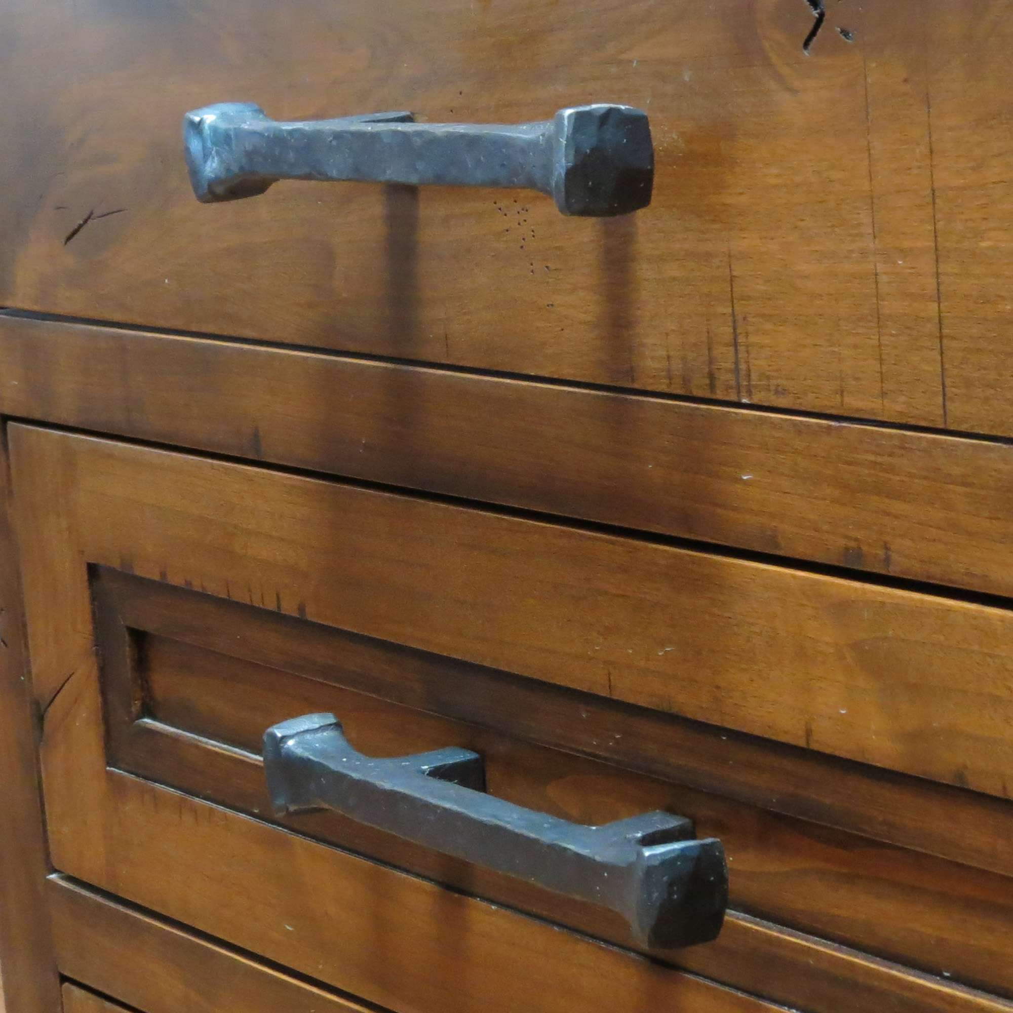 Rustic Hand Forged Hammered Square Drawer Pull