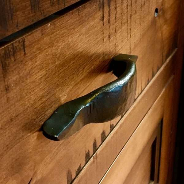 Rustic hand forged Flattened Railroad Spike Drawer Pull